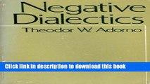 Read Negative Dialectics  PDF Free