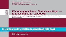Read Computer Security - ESORICS 2006: 11th European Symposium on Research in Computer Security,