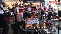 Brest 2016. Le bagad de Lann Bihoué en concert sur la grande scène