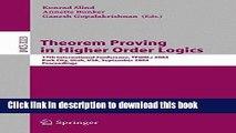 Read Theorem Proving in Higher Order Logics: 17th International Conference, TPHOLS 2004, Park