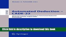Read Automated Deduction - CADE-22: 22nd International Conference on Automated Deduction,