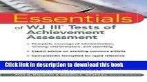 Read Book Essentials of WJ III Tests of Achievement Assessment ebook textbooks