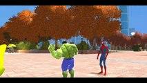 Hulk & Spiderman Car Fun! CARS Yellow & Green McQueen Avengers with Lightning McQueen_5