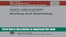 Read Data Structures and Algorithms I: Sorting and Searching (Monographs in Theoretical Computer