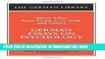 [PDF] German Essays on Psychology: Alfred Adler, Anna Freud, C.G. Jung, and Others (German