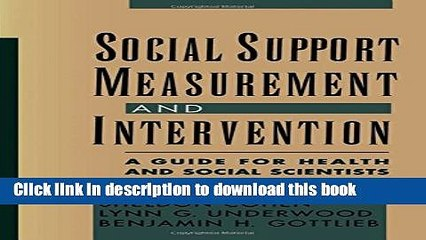 Read Book Social Support Measurement and Intervention: A Guide for Health and Social Scientists