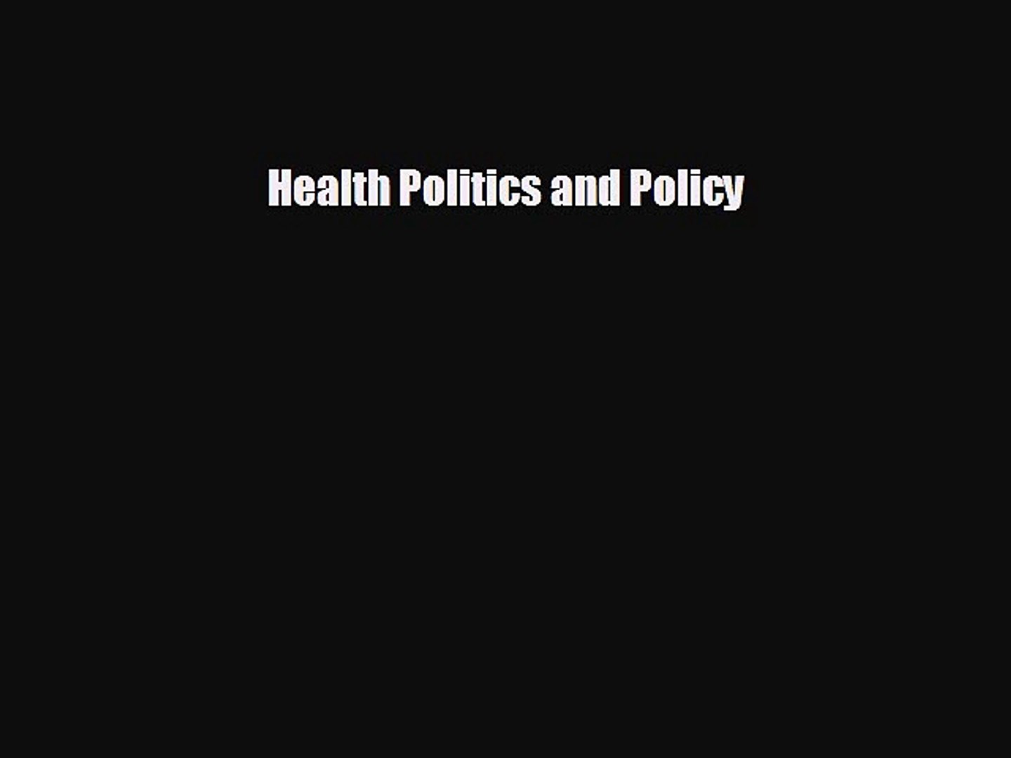 behold Health Politics and Policy