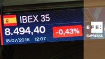 La Bolsa española pierde los 8.500 puntos a mediodía, con una caída del 0,40 %