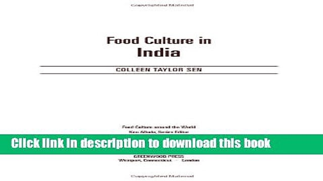 Read Food Culture in India (Food Culture around the World)  Ebook Free