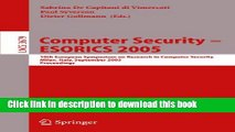 Read Computer Security - ESORICS 2005: 10th European Symposium on Research in Computer Security,