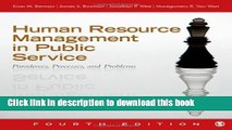 Read Books Human Resource Management in Public Service: Paradoxes, Processes, and Problems E-Book