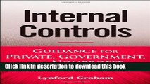Read Books Internal Controls: Guidance for Private, Government, and Nonprofit Entities E-Book Free