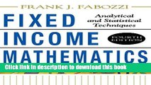 Read Fixed Income Mathematics, 4E: Analytical   Statistical Techniques  Ebook Free