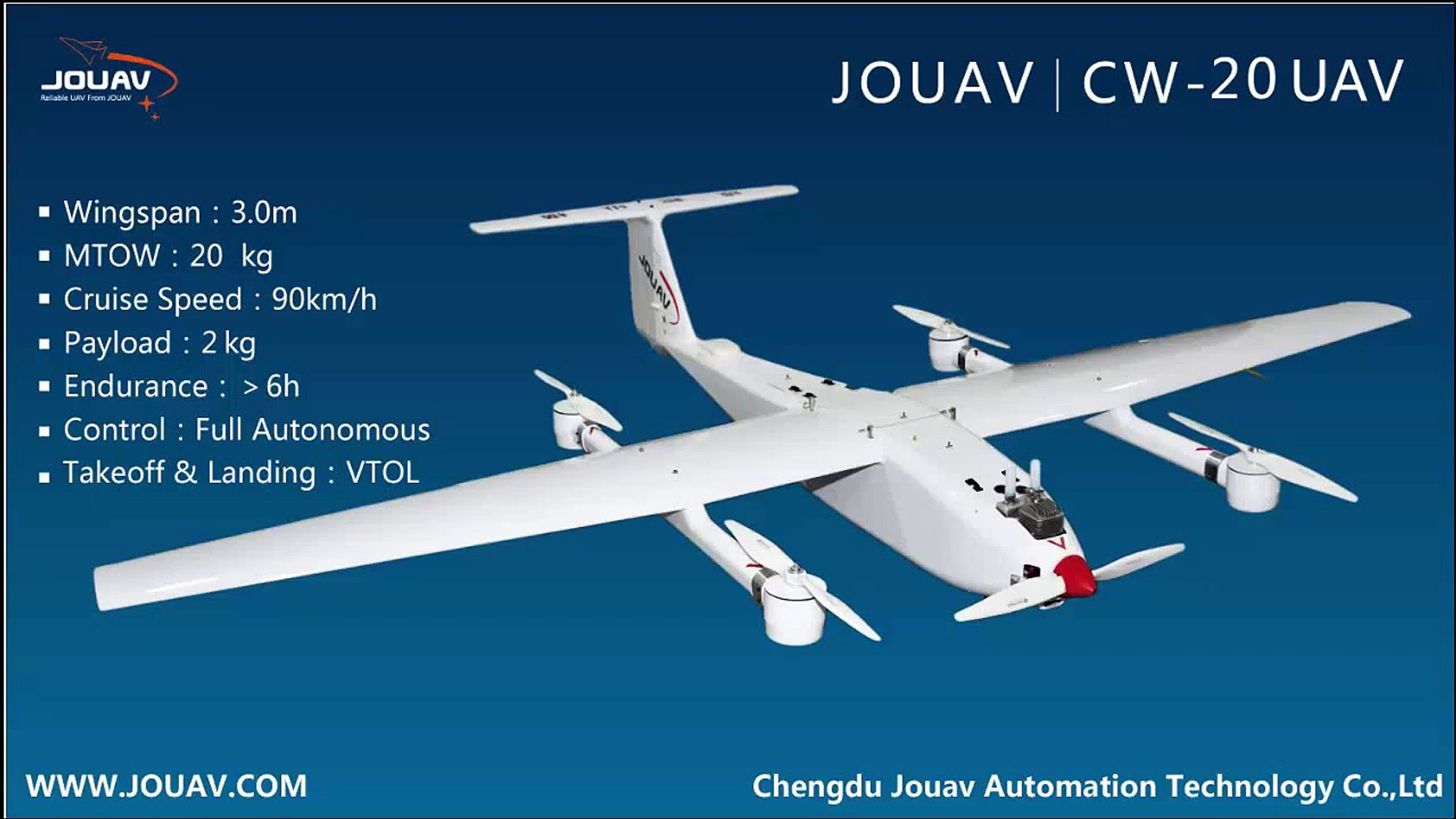 CW-20 6 Hours Endurance VTOL Fixed Wing UAV System