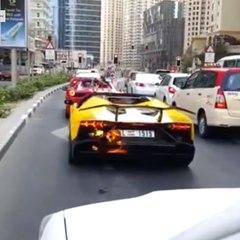 O motorista se emociona e seu Lamborghini pega fogo