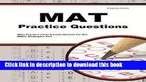 Read MAT Practice Questions: MAT Practice Tests   Exam Review for the Miller Analogies Test E-Book