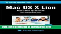 [PDF]  Mac OS X Lion Interview Questions You ll Most Likely Be Asked  [Download] Online