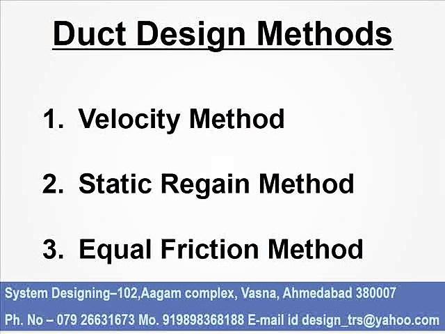 M8136 duct design methods System Designing 919898368188