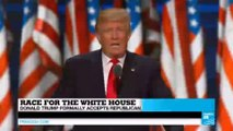 Race for the White House: Donald Trump formally accepts Republican nomination