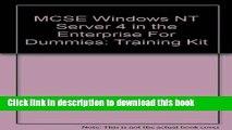 Read McSe Windows Nt Server 4 in the Enterprise for Dummies: Training Kit  Ebook Free