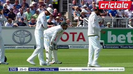 watch محمد عامر نے انگلینڈ کی پہلی وکٹ اڑادی