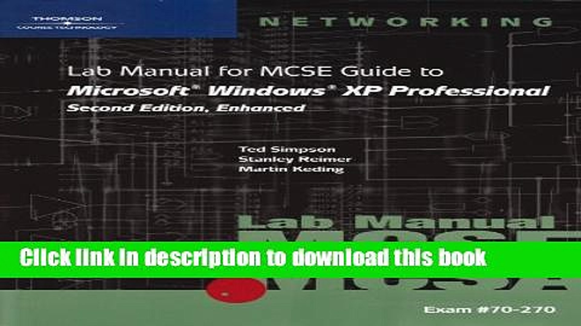 70-270 Lab Manual for MCSE Guide to Microsoft Windows XP Professional Second Edition Enhanced