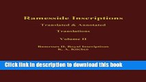 Read Ramesside Inscriptions, Ramesses II, Royal Inscriptions: Translated and Annotated,
