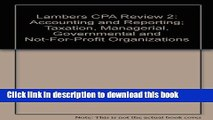 Read Books Lambers CPA Review 2: Accounting and Reporting; Taxation, Managerial, Governmental and