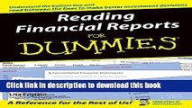 Download Books Reading Financial Reports For Dummies (For Dummies (Lifestyles Paperback)) PDF Online
