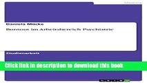 Download Burnout im Arbeitsbereich Psychiatrie PDF Free