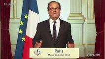 """""""Cette guerre sera longue"""" déclare François Hollande après l'attentat de Saint-Étienne-du-Rouvray"""