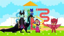 Masha And The Bear with PJ Masks Catboy Gekko Owlette Crying in Castle parody