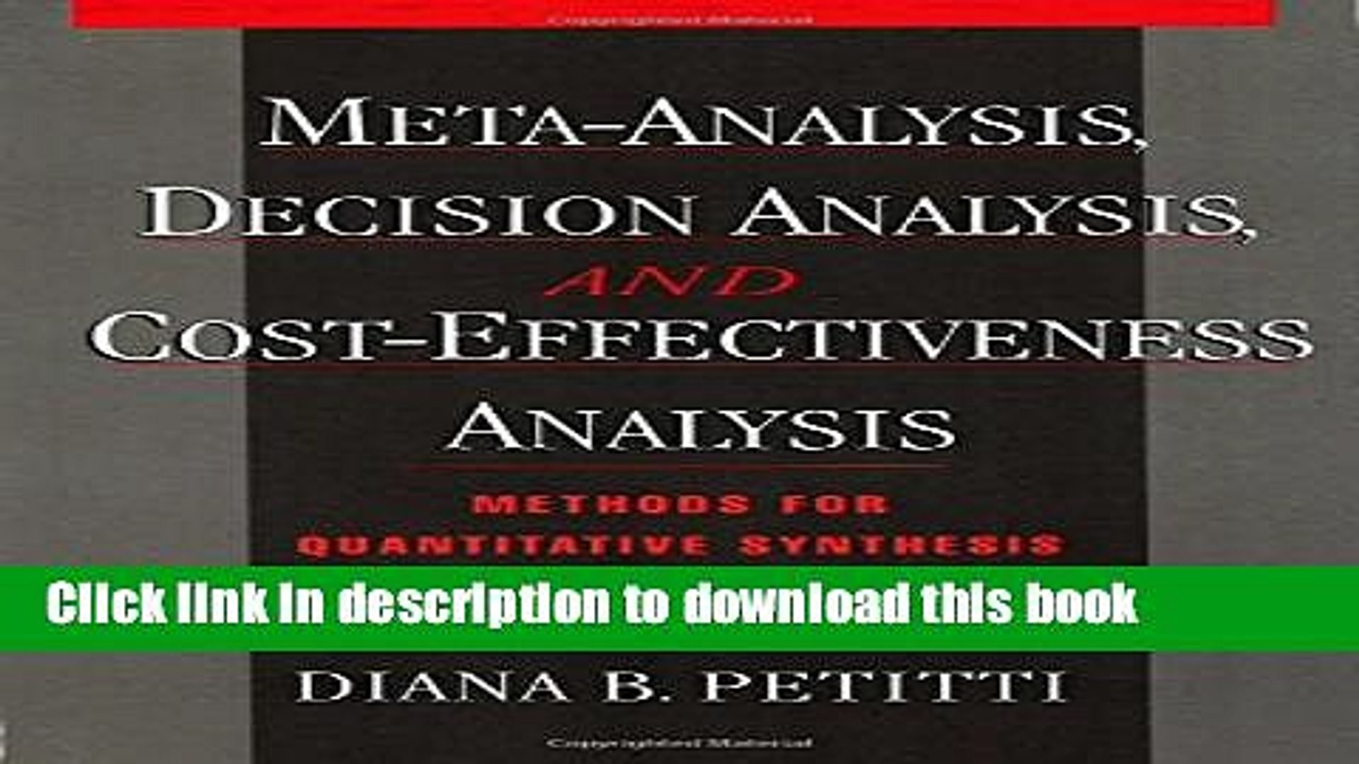 Read Books Meta-Analysis, Decision Analysis, and Cost-Effectiveness Analysis: Methods for