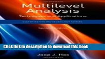 Read Books Multilevel Analysis: Techniques and Applications, (Quantitative Methodology Series) 2nd