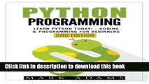 Read Books Python Programming: Learn Python Today! - Coding   Programming For Beginners Ebook PDF