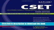 Books Kaplan CSET: California Subject Examination for Teachers (Kaplan Cset: The California