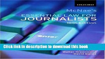 Ebook McNae s Essential Law for Journalists Free Download
