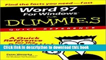 Ebook Word 97 for Windows for Dummies: Quick Reference (For Dummies: Quick Reference (Computers))