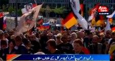 Berlin: Protest against German chancellor angela merkel