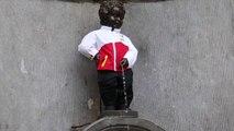 Manneken Pis revêtu du costume des athlètes olympiques belges