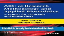 ABC of Research Methodology and Applied Biostatistics For Free