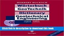 Books Wörterbuch GeoTechnik/Dictionary Geotechnical Engineering: Deutsch/Englisch English/German