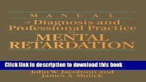 Books Manual of Diagnosis and Professional Practice in Mental Retardation Free Online
