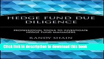Ebook Hedge Fund Due Diligence: Professional Tools to Investigate Hedge Fund Managers Free Online