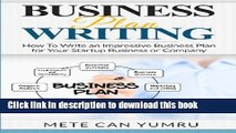PDF  Business Plan Writing: How to Write an Impressive Business Plan for Your Startup Business or