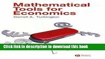 PDF  Mathematical Tools for Economics  Free Books