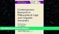 FREE DOWNLOAD  Contemporary Research in Philosophical Logic and Linguistic Semantics (The Western