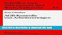Books AGB-Kontrolle von Arbeitsvertraegen: Analyse der deutschen Rechtslage nach der