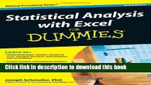 Download Statistical Analysis with Excel For Dummies PDF
