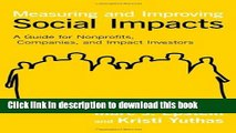 Books Measuring and Improving Social Impacts: A Guide for Nonprofits, Companies, and Impact